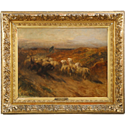 Charles Herrmann-Leon Antique French Painting of Dog Herding Sheep, 19th Century