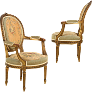Pair of French Louis XVI Antique Fauteuil Arm Chairs