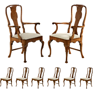 Set of Eight Queen Anne Style Antique Dining Chairs