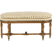 French Louis XVI Antique Carved Oval Bench Ottoman, Late 19th Century