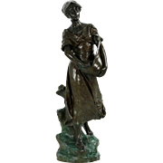 "Large Bronze Sculpture by Edouard Drouot of ""La Semeuse"" ca. 1910"