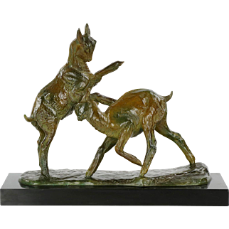 Art Deco Bronze Sculpture of Goats by Irénée Rochard