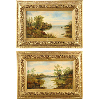 Pair of English School Antique Landscape Paintings of Lake, Signed, 19th Century