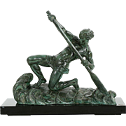 """Alexandre Ouline French Sculpture of """"The Rower"""", Art Deco Period c. 1930"""