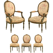 French Antique Set Two Arm Chairs w/ Three Side Chairs, 19th Century