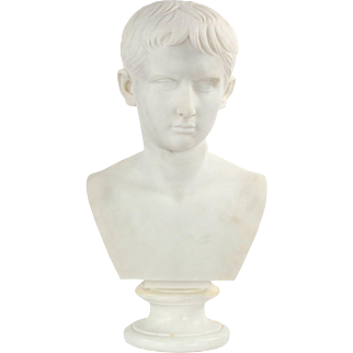 Antique 19th Century Marble Bust of Caesar Augustus, Grand Tour