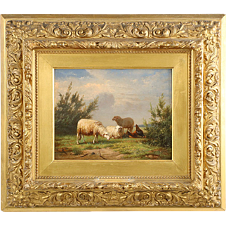 Eugene Verboekhoven Antique Painting of Sheep at Pasture, Signed