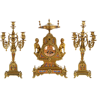 Egyptian Revival Bronze Mantel Clock and Candelabra c. 1870