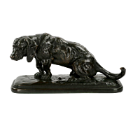 Antique Bronze Sculpture of Basset Hound by Antoine-Louis Barye, Barbedienne