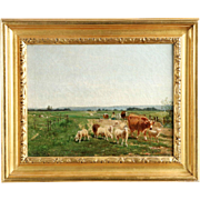 Emil van Marcke Antique French Oil Painting of Cattle and Sheep at Pasture
