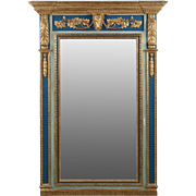 French Antique Pier Mirror w/ Carved Ram Heads, 19th Century