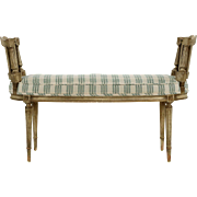 French Louis XVI Style Distressed Painted Window Bench c. 1920-40
