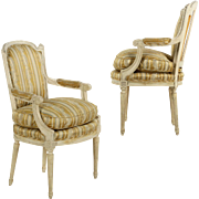 Pair of Vintage French Distressed Arm Chairs, Early 20th Century