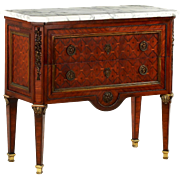 French Neoclassical Parquetry Antique Commode Chest of Drawers c. 1880