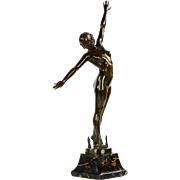 Art Deco Bronze Sculpture of Dancer by Fernand Ouillon-Carrere c. 1919