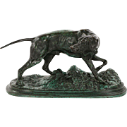 Antique French Bronze Sculpture of Pointer Dog, Pierre Jules Mene