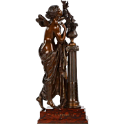 Antique French Bronze Sculpture of L'Aurore by Mathurin Moreau, 19th Century