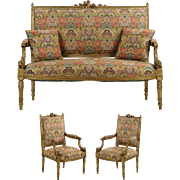 Vintage Three Piece French Louis XVI Style Giltwood Salon Suite w/ Settee Sofa and Two Arm Chairs