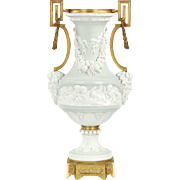 Neoclassical Antique Jasperware Bisque Gilt Bronze Vase Urn, Late 19th Century