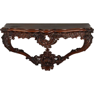 Carved Rosewood Antique Wall-Mounted Console Table, 19th Century
