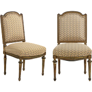 Pair of French Antique Side Chairs in Louis XVI Style, 19th Century