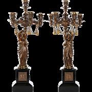 Pair of French Antique Bronze Candelabra w/ Greek Figurals c. 1870