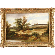 British School Antique Landscape Painting of Harvest Time, 19th Century