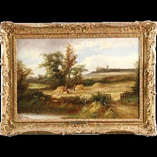 British School Antique Landscape Painting of Harvest Time, 19th Century