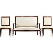 French Empire Style Antique Settee with Two Side Chairs, 19th Century