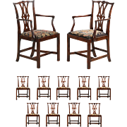 Fine Chippendale Set of Eleven Shell Carved Antique Dining Chairs, late 18th/early 19th century