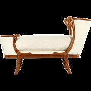 Small Child Size Antique Sofa Recamier, 19th Century
