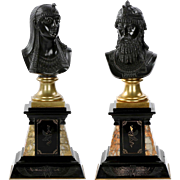 Authentic Pair of Egyptian Revival Bronze Busts of Isis and Ramses, 19th Century