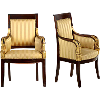 Pair of French Empire Arm Chairs Bergeres, 20th Century