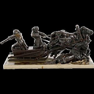 Russian Bronze Sculpture of Troika Group by Albert Moritz-Wolf, cast by Gladenbeck