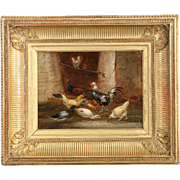 Claude Guilleminet Antique French Painting of Chickens, 19th Century