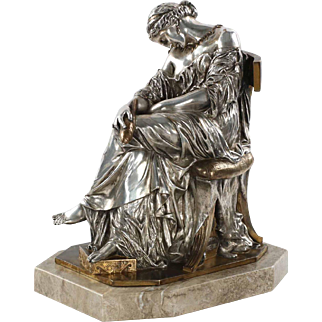 French Antique Bronze Sculpture of Sleeping Woman by Pierre Cavelier