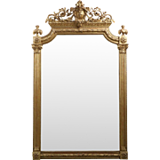 Gilded Neoclassical Antique Pier Mirror, 19th Century