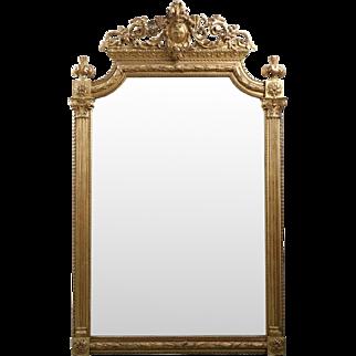 Gilded Neoclassical Antique Pier Mirror, 19th Century