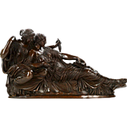 "Jean-Baptiste Clésinger Bronze Sculpture of ""Two Fates"", Barbedienne c. 1880"