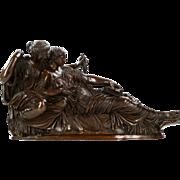"Jean-Baptiste Clésinger Bronze Sculpture of ""Two Fates"", Barbedienne c. 1880"
