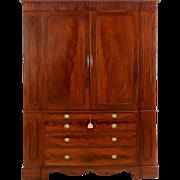 Rare Federal Mahogany Linen Press w/ Secretary Desk c. 1805-15