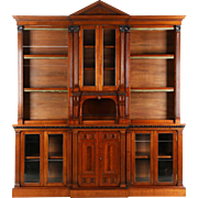 Irish Chippendale Style Walnut Bookcase Breakfront Cabinet, 19th Century