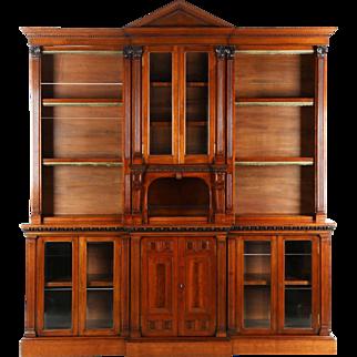 Irish Chippendale Style Walnut Bookcase Breakfront Cabinet, 19th Century