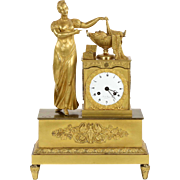 French Antique Bronze Mantel Clock, Late 19th Century
