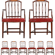 Set of Eight American Federal Style Mahogany Antique Dining Chairs, Late 19th Century