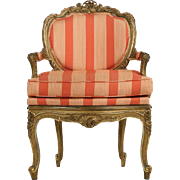 French Antique Carved Arm Chair in Louis XV style