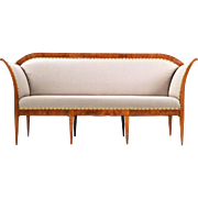 Biedermeier Period Walnut Settee Sofa Canape, 19th Century