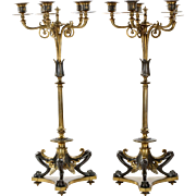 Pair of French Neo-Grec Bronze Candelabra c. 1870