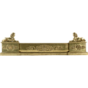 Regency Brass Fire Fender in Egyptian Taste w/ flanking Sphinx, 19th Century