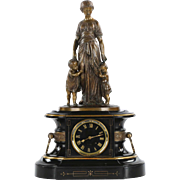 Japy Freres Napoleon III Bronze and Slate Mantel Clock